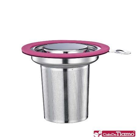 Tiamo 1307 不鏽鋼蓋濾網組【桃紅色】HG1751 PK
