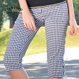 【FANTINO】女款 休閒格紋七分褲(黑.紫)373203-373204