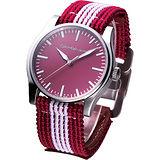 CK Jeans 玩色時尚帆布休閒錶-紅色