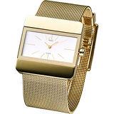 CK Impact時尚衝擊寬版米蘭帶女錶(金)