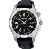 SEIKO 羅馬都會人動電能腕錶-黑 5M62-0CL0J