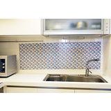 【媽媽樂MAMALOVE】無膠式廚房防水防污快速壁貼 超值6入組(大馬士革藍玫瑰)