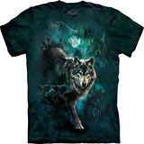 『摩達客』*大尺碼3XL*美國進口【The Mountain】自然純棉系列 夜之狼群 設計T恤 (預購)