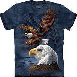 『摩達客』*大尺碼3XL*美國進口【The Mountain】自然純棉系列 鷹旗群 設計T恤 (預購)