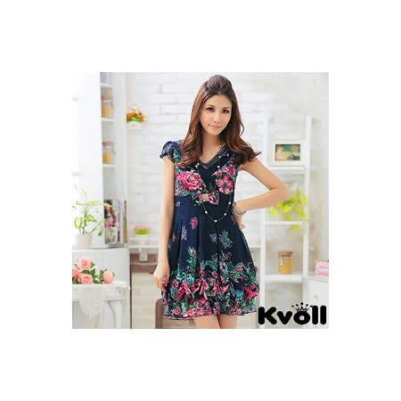 【KVOLL中大尺碼】寶藍色V領印花波浪裙擺洋裝