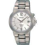 SEIKO Kinetic 簡約鈦金屬腕錶-銀 5M62-0BE0S