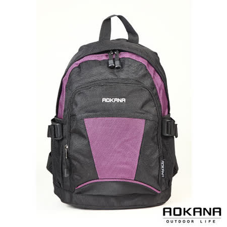 AOKANA奧卡納 輕量防水戶外休閒小型後背包(黑/紫)68-012
