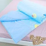 【奶油獅】怡情葉語系列-台灣製造-100%精梳純棉涼被5*6尺(水藍)