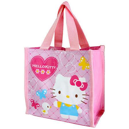【HELLO KITTY-凱蒂貓】愛心蝴蝶便當餐袋-氣質粉紅