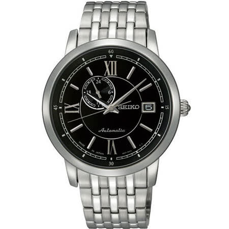 SEIKO 4R37 偏心系列機械腕錶-黑/銀 4R37-00E0D