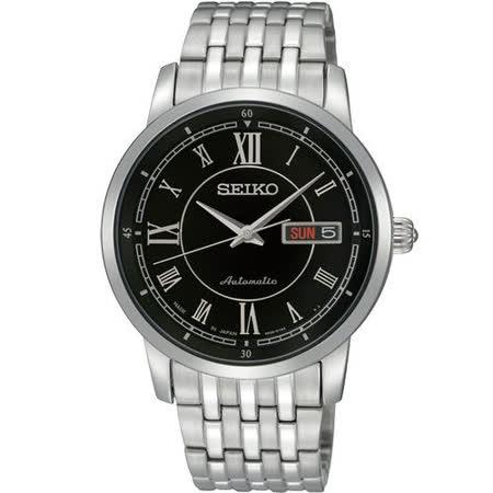 SEIKO 4R36 尊爵時尚機械腕錶-黑/銀 4R36-00Y0D