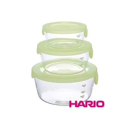 日本【HARIO】綠色玻璃保鮮碗三件組 / SYT-2418CG