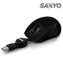 SANYO三洋 USB筆電專用小巧捲線光學鼠(黑)SYMS-M12K