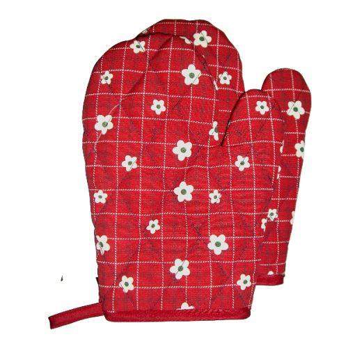 小花精緻隔熱手套~1雙組F251~紅色