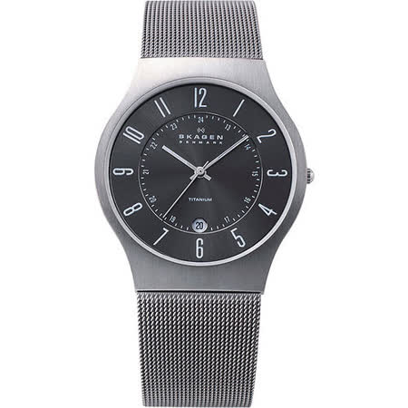 SKAGEN 233【鈦】金屬系列 時尚腕錶-鐵灰 233XLTTM
