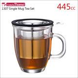 Tiamo 1307 有柄玻璃馬克杯 附不鏽鋼蓋濾網組-445ml【黑色】HG1750 BK