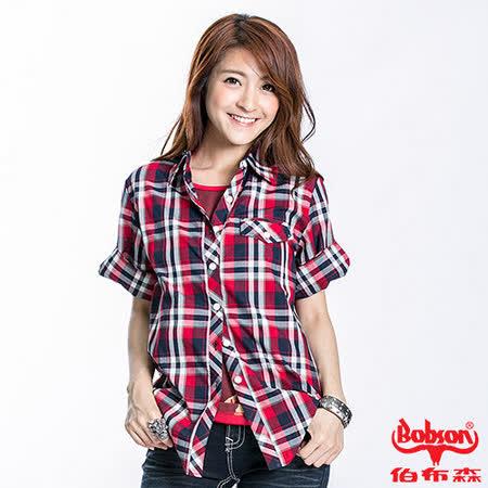 BOBSON 女款格紋五分袖長版襯衫(紅23140-13) M
