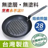 【黑鼎】台灣製造黑鼎傳奇精鐵不沾鍋28公分烙痕煎盤 獨家好禮大方送(精鐵黑色)