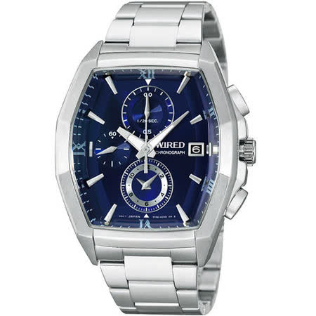 WIRED New Standard 自我潮流三眼計時腕錶-藍/銀 7T92-X249A