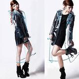 【PS Mall】日韓時尚風衣雨披超薄個性透明鑲邊雨衣(J2122)