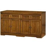 HAPPYHOME 楓芝林5.3尺樟木色碗碟櫃(420-1)