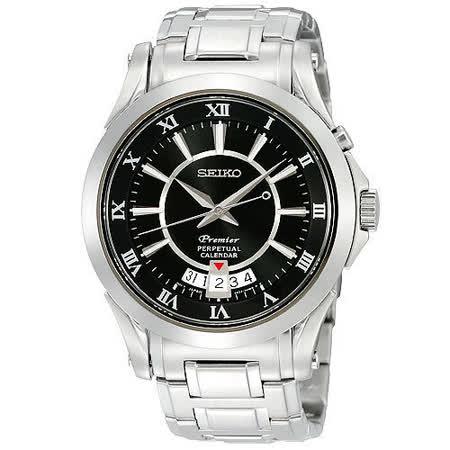 SEIKO Premier 萬年曆洗鍊腕錶-黑 6A32-00R0D