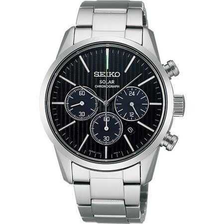 SEIKO SPIRIT SOLAR 時尚玩家計時腕錶-黑/銀 V175-0BJ0D