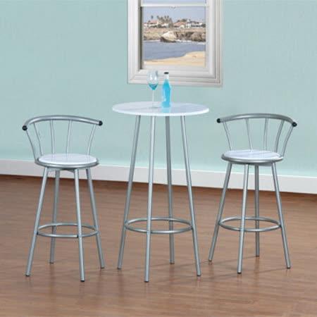 高級鋼管-洽談桌椅組/吧台桌椅組/餐桌椅組(1桌2椅)-二色可選