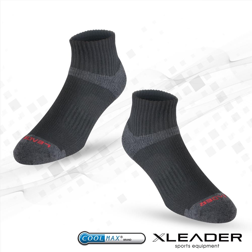 【LEADER】COOLMAX除臭機能運動襪 男款(黑)