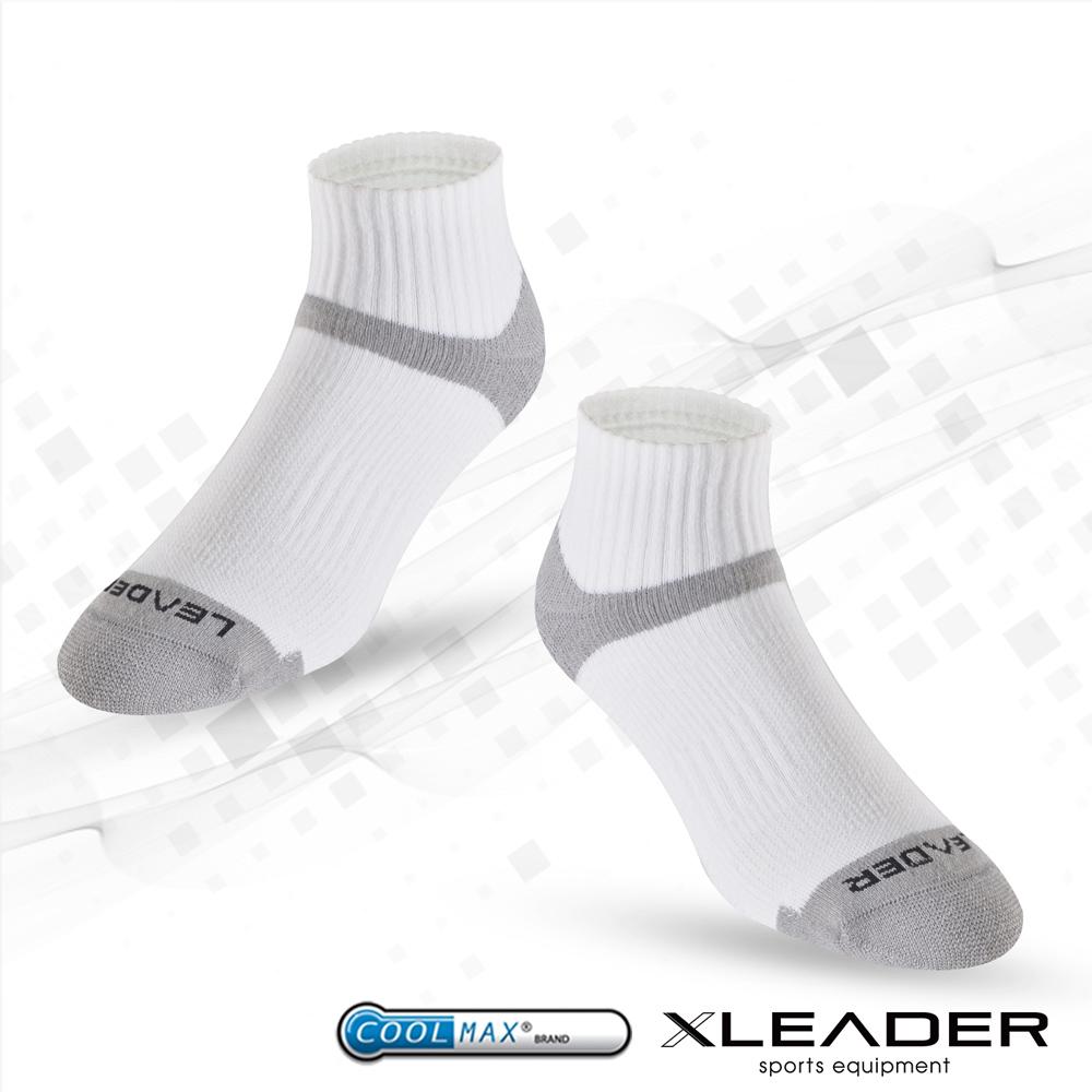 【LEADER】COOLMAX除臭機能運動襪 男款(白灰)