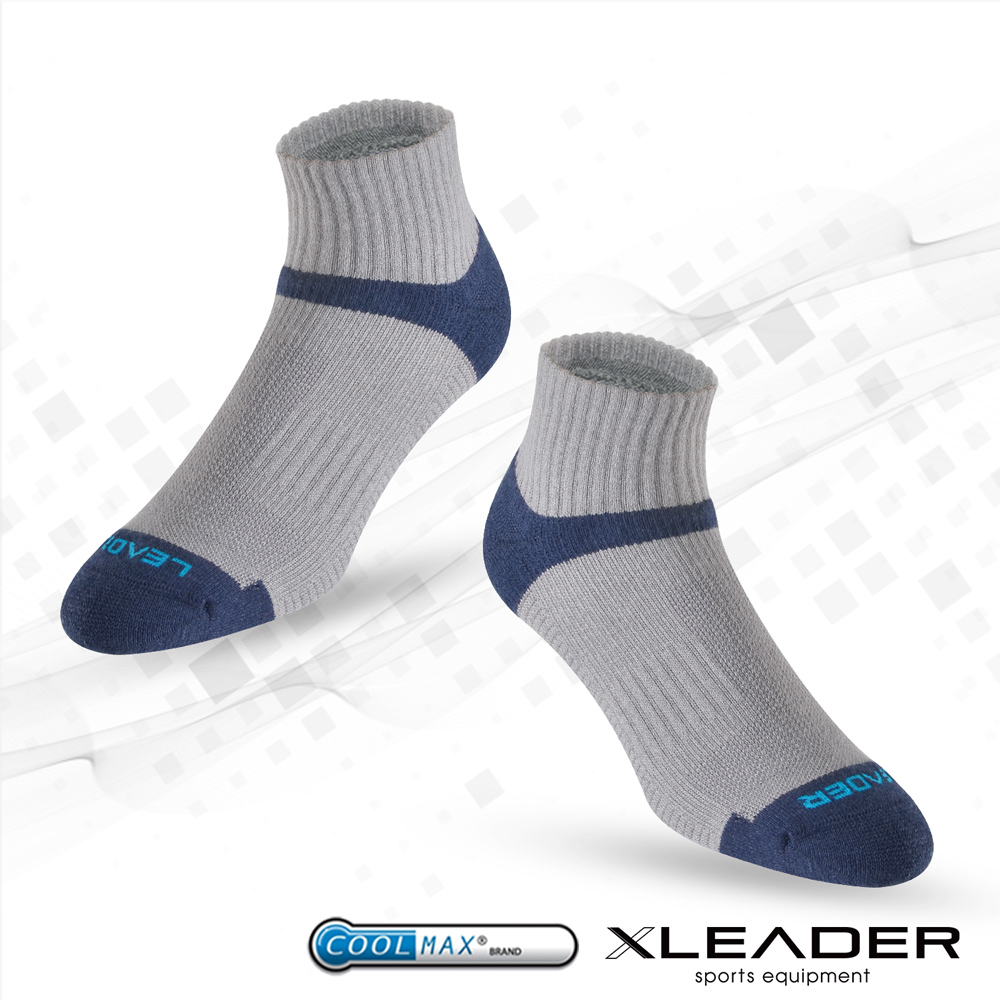 【LEADER】COOLMAX除臭機能 襪 男款  灰藍