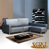 【MNJ】閃亮格紋L型獨立筒沙發254cm