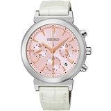 SEIKO LUKIA Solar「我的甜美時尚風」三眼計時太陽能腕錶(白) V175-0AJ0P