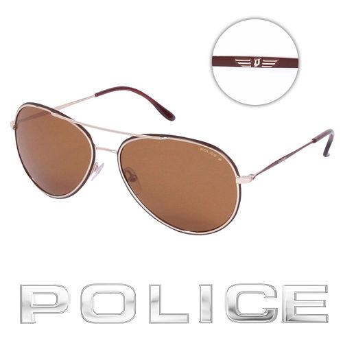 POLICE 都會偏光飛行員太陽眼鏡 ^(咖啡金^) POS8299~F93P