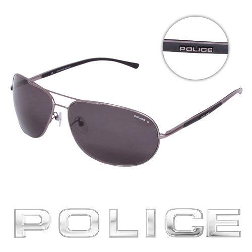 POLICE 都會偏光飛行員太陽眼鏡 ^(銀灰色^) POS8691~627P