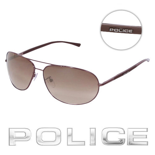 POLICE 都會復古飛行員太陽眼鏡 ^(古銅色^) POS8691~K01X