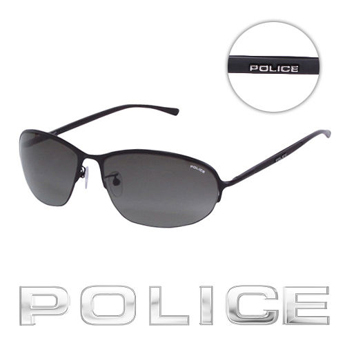 POLICE 都會復古飛行員太陽眼鏡 ^(消光黑^) POS8692~0531