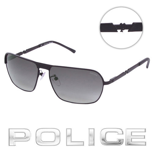 POLICE 都會 飛行員太陽眼鏡 ^( 黑^) POS8745~0531