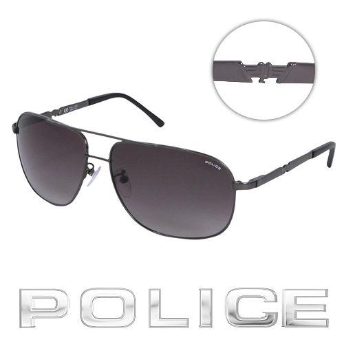 POLICE 都會 飛行員太陽眼鏡 ^(銀黑色^) POS8747~0584