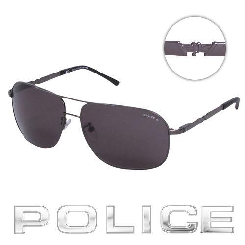 POLICE 都會 偏光飛行員太陽眼鏡 ^(銀黑色^) POS8747~584P