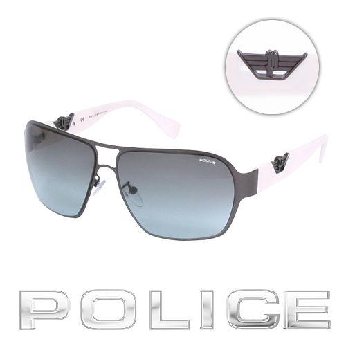 POLICE 都會 飛行員太陽眼鏡 ^(銀黑色^) POS8753~0627