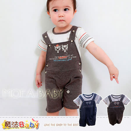 (購物車)魔法Baby~小浣熊肩開釦吊帶褲套裝(藍.咖)~LOU&DIER品牌系列~男童裝~k28652