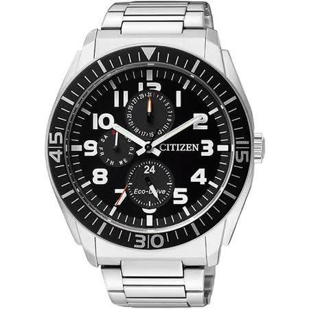 CITIZEN Eco-Drive 時尚日曆腕錶-黑/銀 AP4010-54E