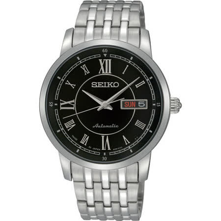 SEIKO 4R36 英倫紳士系列機械錶(黑/鋼帶) 4R36-00Y0D