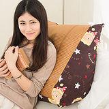 【奶油獅】正版授權-台灣製造~搖滾星星紙纖舒涼三角靠墊-咖啡(一入)