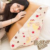 【奶油獅】正版授權-台灣製造~搖滾星星紙纖舒涼三角靠墊-米色(一入)