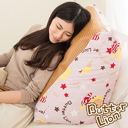 【奶油獅】正版授權-台灣製造~搖滾星星紙纖舒涼三角靠墊-淡紫(一入)