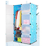 8門加深全掛式煥彩PP組合衣櫥櫃(藍色)