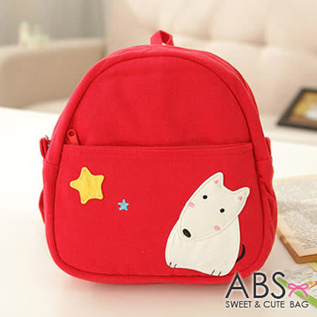 ABS貝斯貓 小狐狸看星星布質拼布包 小型後背包 (鮮梅紅) 88-027