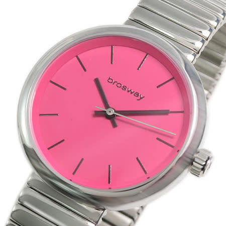 【brosway】B-Crazy 女錶鋼面鐵鍊帶 桃紅色
